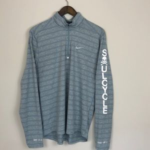 Nike Gray Stripe Soulcycle Half-Zip Jacket Large